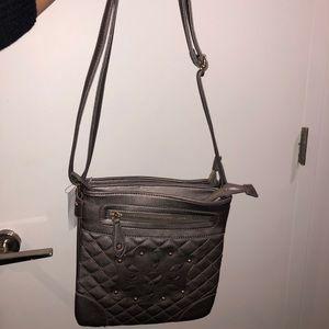 Gray / silver crossbody bag